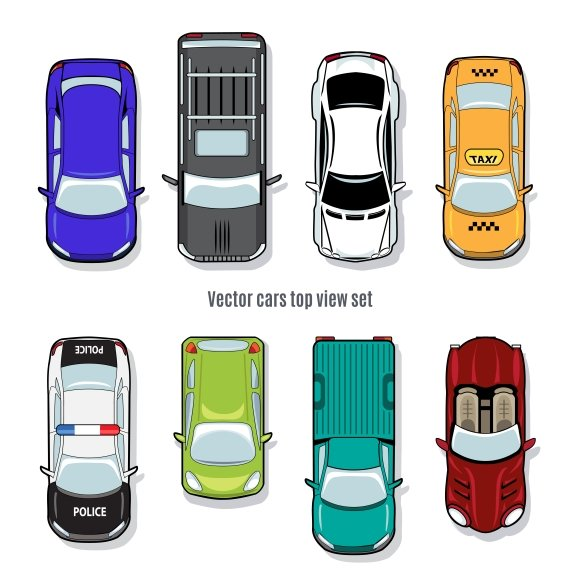 Set of vector cars top view graphics creative market - Clipart voiture ...