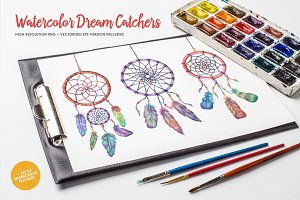 Watercolor Dream Catchers Set