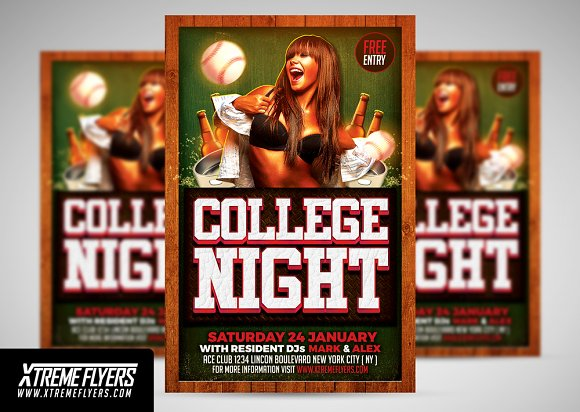 College School Party Flyer ~ Flyer Templates ~ Creative Market