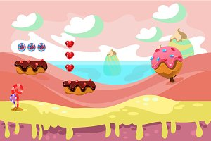 Game sweets seamless background