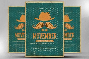 Vintage Movember Flyer Template
