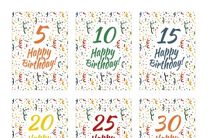 Set of happy birthday card covers
