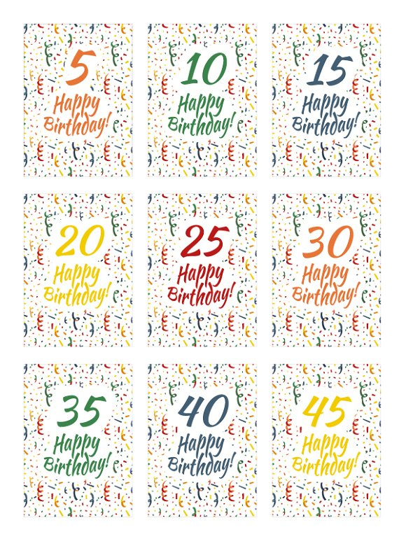 Set of happy birthday card covers Illustrations Creative Market – Set of Birthday Cards