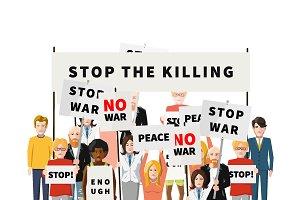 Stop war demonstration crowd