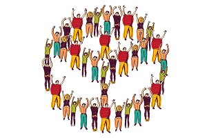 Symbol peace with crowd happy people