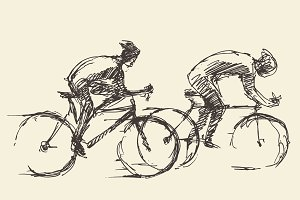 Set of bicyclists sketches