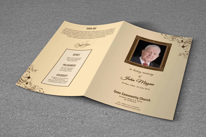 Funeral Program Template BiFold Brochure Templates on – Template Funeral Program