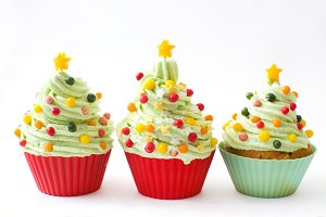 Christmas tree chupcakes