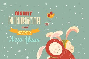 Cute rabbits celebrating Christmas