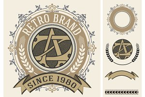 Retro label with monogram and elemen