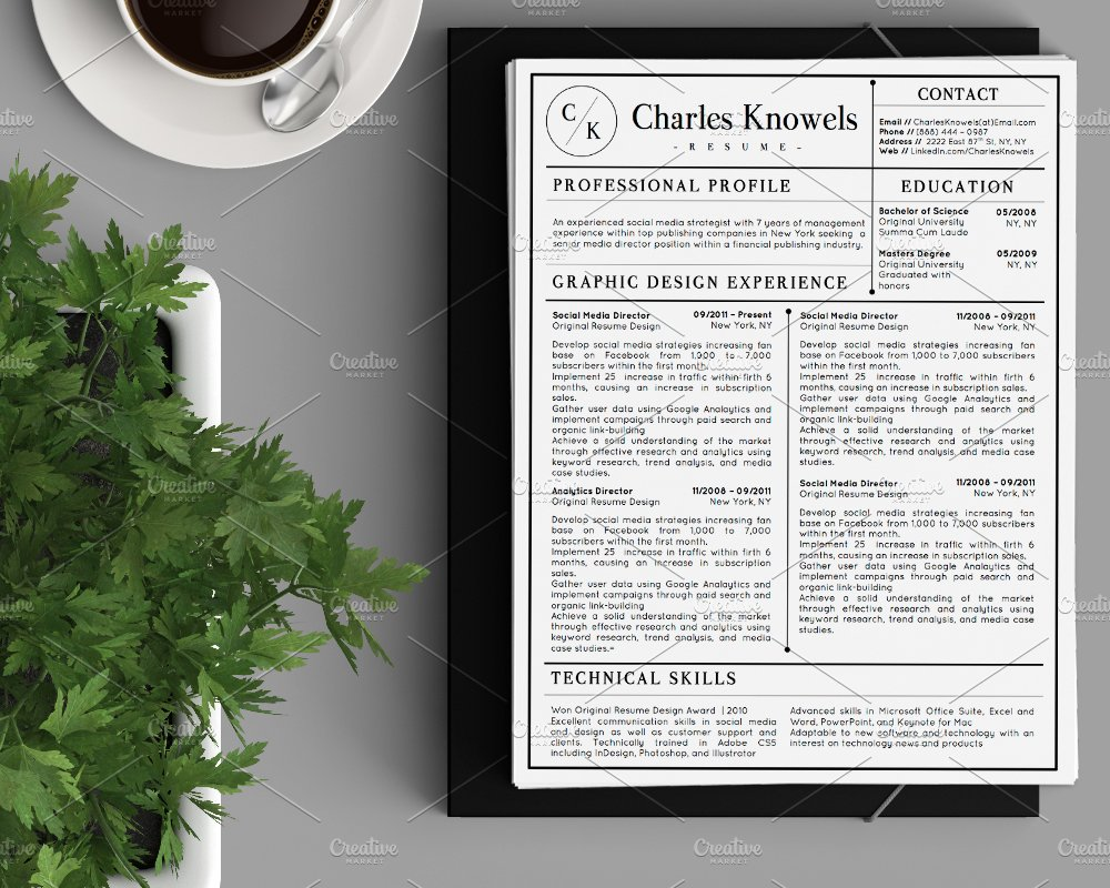 Modern 2-Page Resume CV Template ~ Resume Templates ~ Creative Market
