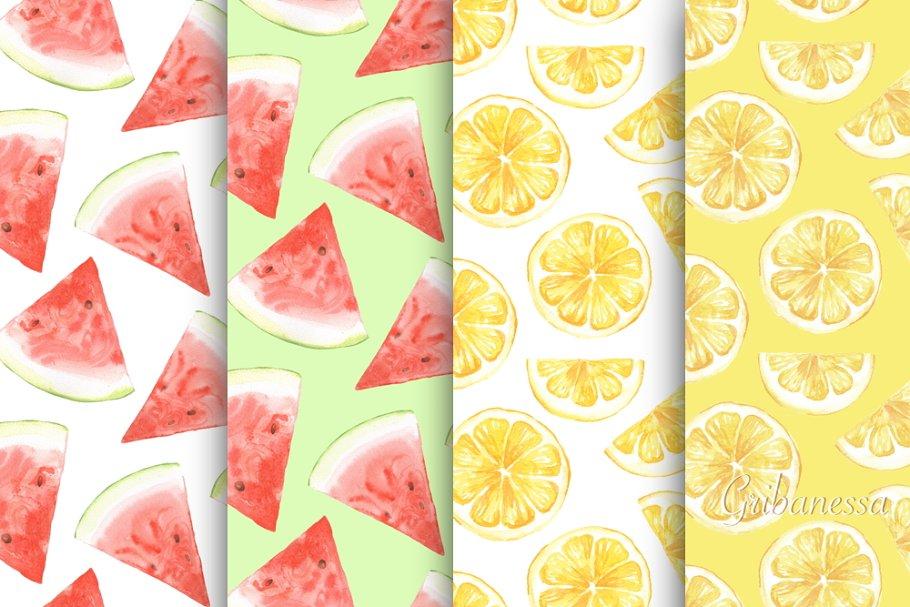 Fruit patterns. Watercolor set