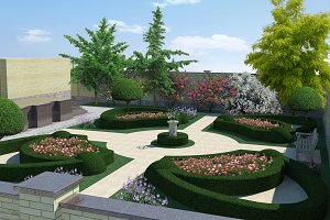 Classic Style Courtyard Landscaping