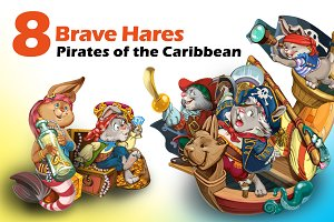 Cartoon hares pirates