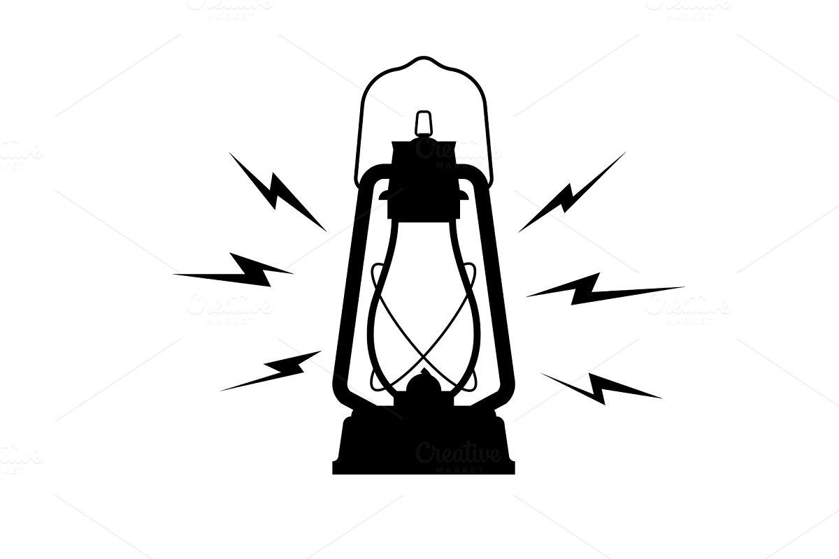 vintage kerosene lantern icon on a in Objects