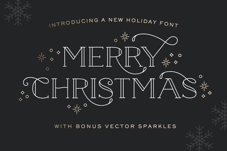Merry Christmas Font - with sparkles