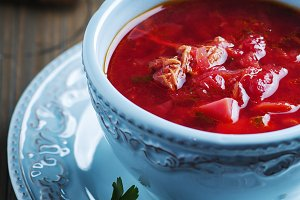 Traditional russian beetroot soup