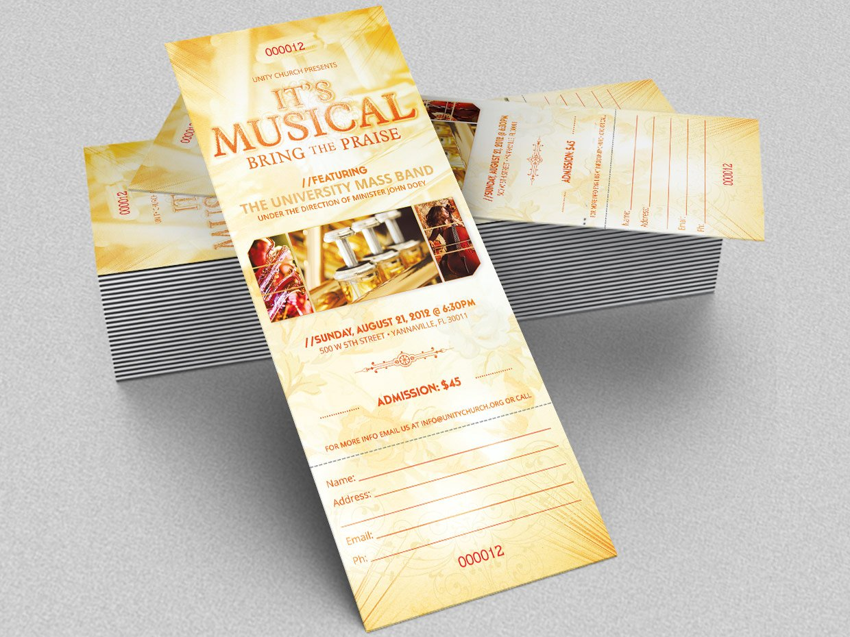 musical concert ticket template templates creative market. Black Bedroom Furniture Sets. Home Design Ideas