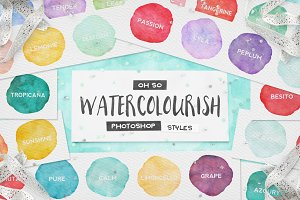 90 Watercolor PS Styles + EXTRAS!