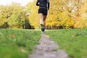 Fit and healthy female runnig