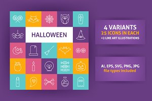 Halloween Line Art Icons