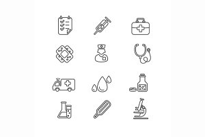 Medical Icon Outline Set. Vector