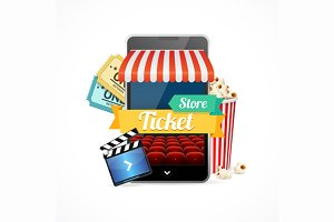 On-line Cinema Concept. Vector