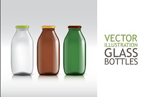 Realistic Bottles of Glass