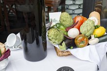 group of vegetable and wine