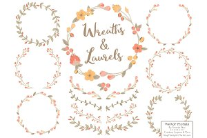 Antique Peach Vector Flower Wreaths