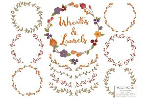 Autumn Vector Flower Wreaths