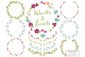 Bohemian Vector Flower Wreaths