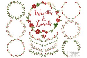Christmas Vector Flower Wreaths
