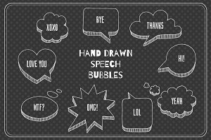 Hand-drawn speech bubble set.