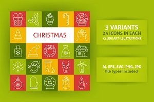 Christmas Line Art Icons
