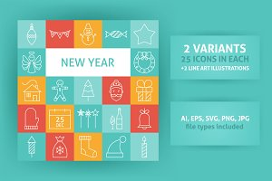Happy New Year Line Art Icons