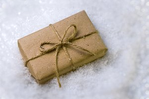 Christmas gift in snow