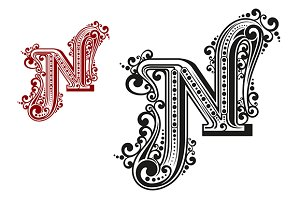 N letter in vintage calligraphic sty