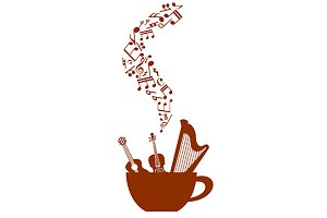 Cup of coffee with musical elements