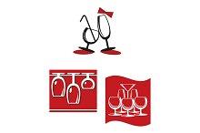Alcohol glasses for bar menu design