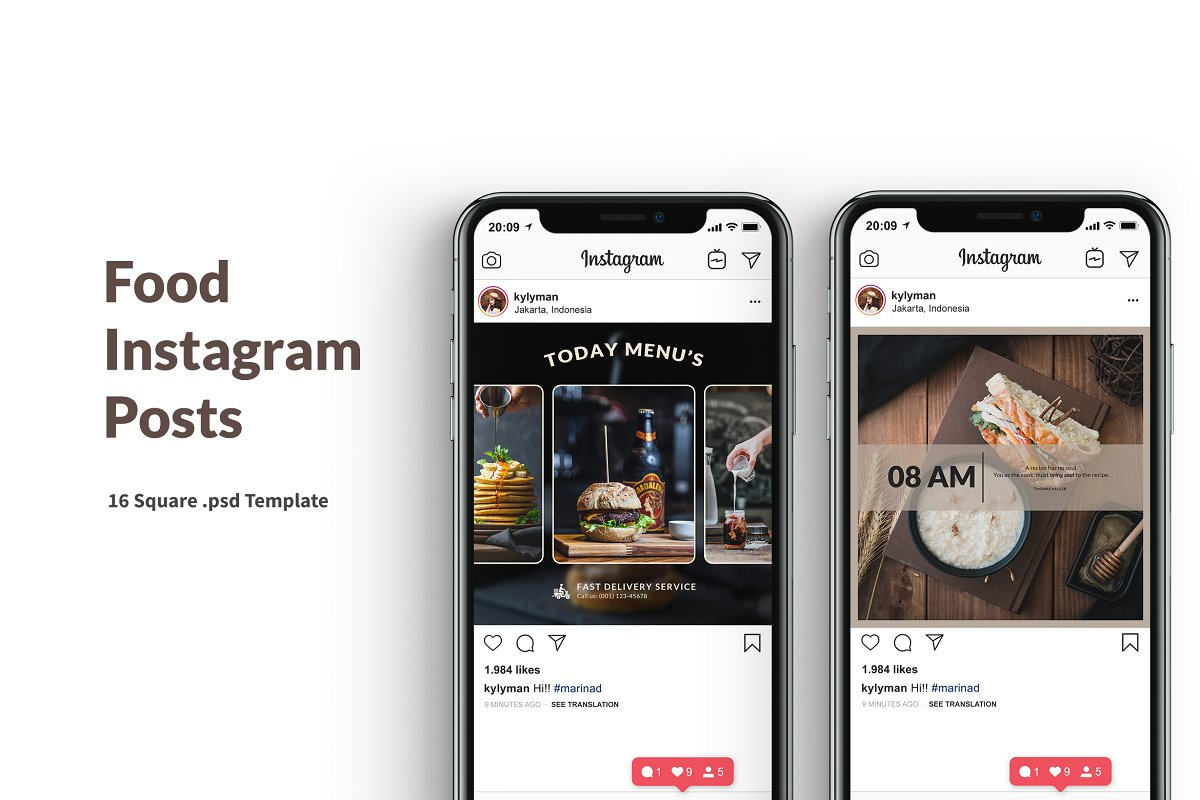 Food Instagram Posts Template