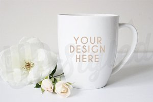 F153 Mug White Rose Styled Mock Up
