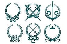 Laurel wreathes with heraldry elemen