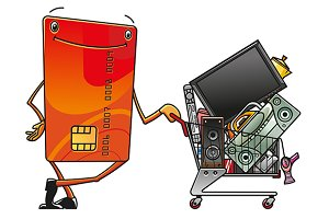 Credit card with shopping cart of el