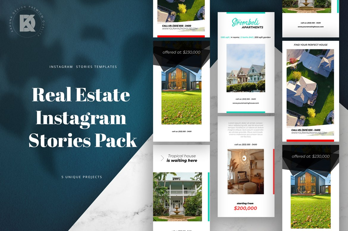 Real Estate Instagram Stories Creative Photoshop Templates Creative Market