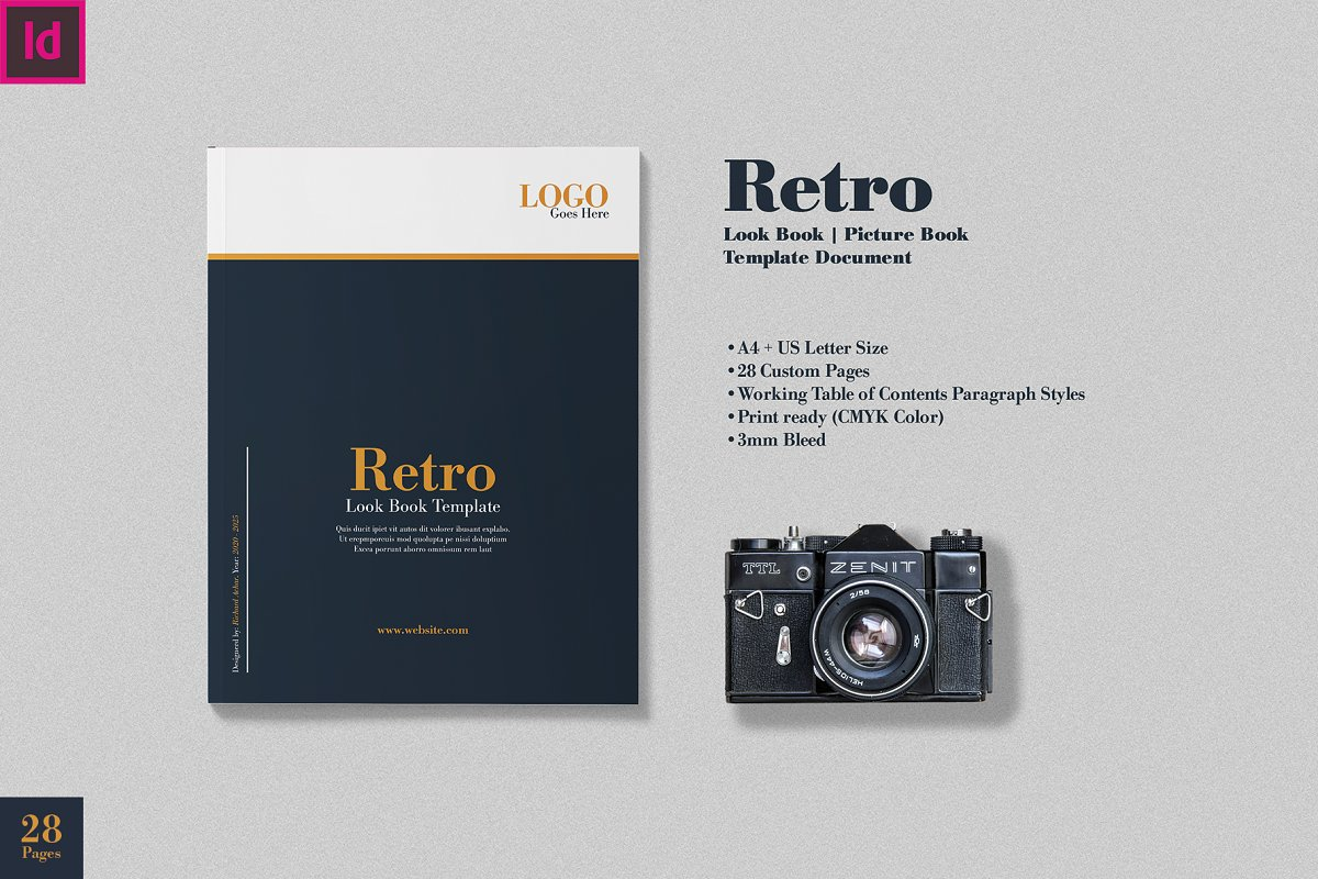 Retro Look Book Indesign Template