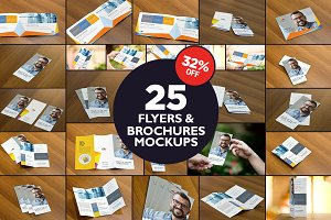 The Flyers & Brochures Mockup Bundle