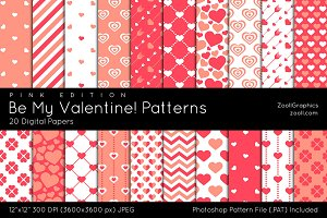 Be My Valentine Pink Digital Papers