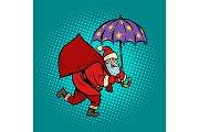 Santa Claus with star umbrella