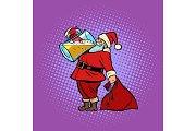 Santa Claus drinking beer. Christmas